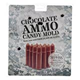 Chocolate Candy Bullet Mold - This plastic candy bullet mold makes 20 bullets. Flat on one side so you can display them or refill your favorite chocolate ammo tin. Make Jello or ice cube bullets.