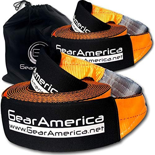 GearAmerica Recovery 2PK Tow Straps 4' x 30' | Ultra Heavy Duty 45000 lbs (22T) Strength | Triple Reinforced Loops + Protective Sleeves | Emergency Towing | Storage Bag + Tie