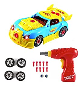 Construction Toys - Take Apart Toys Car Racing - 30 Take Apart Pieces With Realistic Sounds & Lights - Easy Build Your Own Car Kit With Electric Drill Tool For 3 Year Old Boys