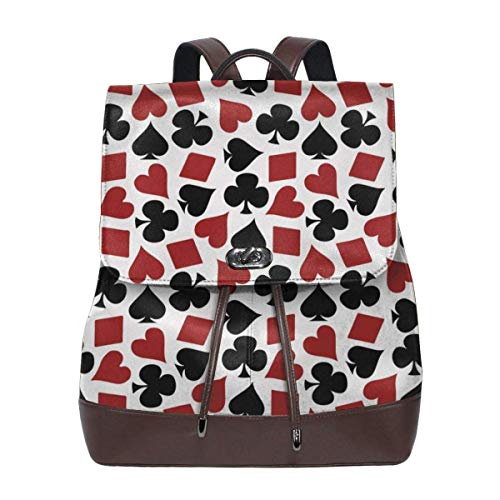 Flyup Women Backpack Purse Playing Card Suit Casino Pattern Waterproof PU Leather Anti-theft Schoolbag Lightweight Rucksack Frauen Leder Rucksack