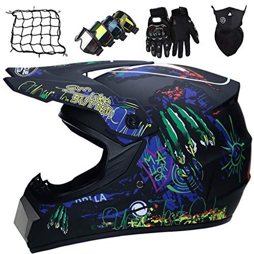 Casco de Motocicleta de Motocross para Niños, Casco de Moto Profesional, Cascos de Integral MTB Downhill con Gafas/Guantes/Máscaras/Red elástica, Aprobados DOT/ECE, Negro Mate Azul