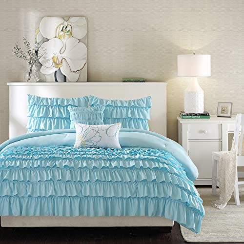 Intelligent Design Cozy Comforter Casual Waterfall Multi Layer Ruffle All Season, Hypoallergenic Cover, Soft Bedding Set with Matching Sham, Decorative Pillow, Twin/Twin XL, Blue