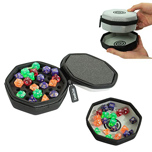 Protective Padded Dice Case & Integrated Felt Dice Tray for Board Games, Tabletop Games and RPGs - Holds & Protects Over 75 Dice! Perfect for Game Night! (Gray)