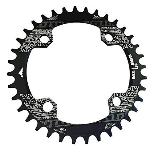 Forma de Bicicletas Crank 104BCD Ronda Estrecho Ancho 32T / 34T / 36T / 38T MTB Plato de Bicicletas Bicicleta Conjunto de Platos y bielas Círculo Sola Placa (Color : Black Round 32T)