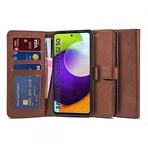 Tech-Protect Funda tipo cartera – Funda de piel – Funda de teléfono móvil | Compatible con Samsung Galaxy A52 4G / 5G | Marrón