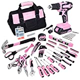 FASTPRO 232-Piece 20V Pink Cordless Lithium-ion Drill Driver and Home Tool Set, Lady's Home Repairing Tool Kit with 12-Inch Wide Mouth Open Storage Tool Bag