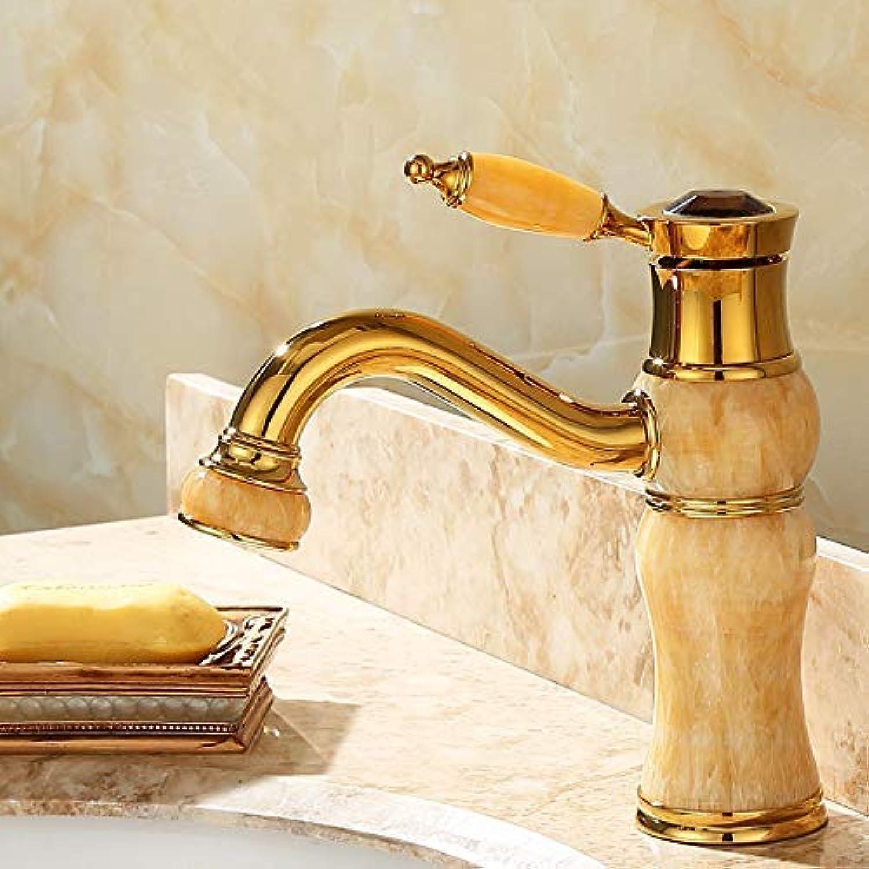 Seba5 Home Wasserhahn Waschtischarmatur Voll Kupfer Jade Becken Heier und Kalter Wasserhahn Marmor Antike Unterbecken Goldener Wasserhahn B