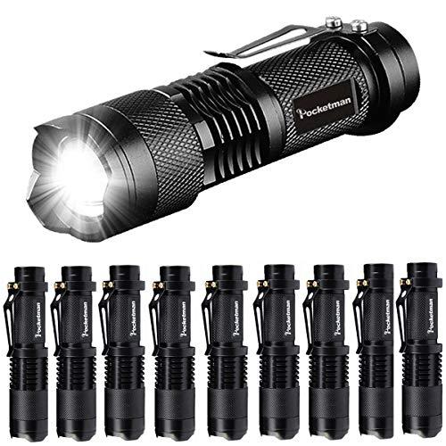 Taschenlampe Pocketman Mini 7W 300 Lumen tragbare Mini Q5 LED Taschenlampe Single Mode taktische Lampe LED Taschenlampe einstellbarer Fokus zoombares Licht für Geschenk, Wandern, Camping