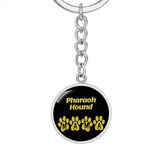 Dog Mom Gift Pharaoh Hound Mama Circle Keychain Stainless Steel or 18k Gold