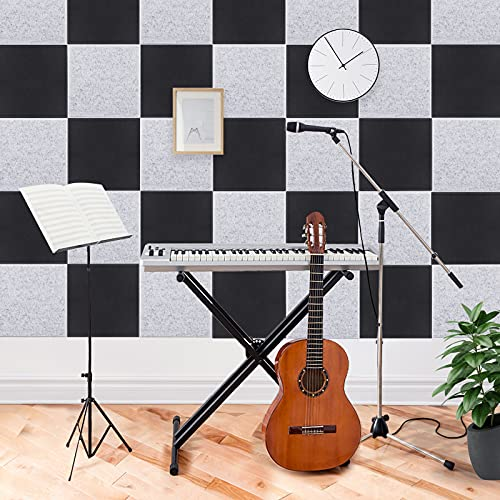 Upgraded 12 Pack Acoustic Panels Sound Proof Foam Panels Sound Proof Padding, 12'X12'X 0.4' High Density Bevled Edge Sound Panel, Idea for Acoustic Treatment & Wall Decoration (Grey)
