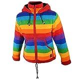 Damen Regenbogen Strickjacke Goa Wolle Jacke mit Fleecefutter und Zipfelkapuze, Größe:36