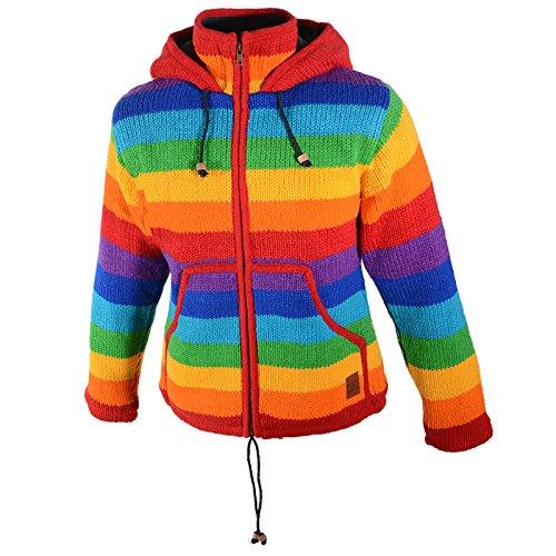 Damen Regenbogen Strickjacke Goa Wolle Jacke mit Fleecefutter und Zipfelkapuze, Größe:46