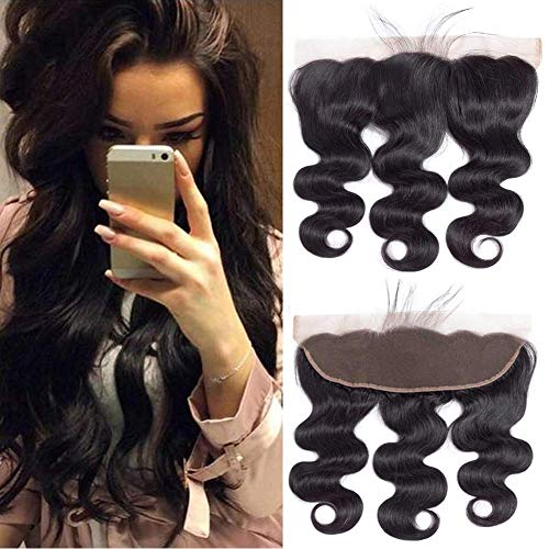 """QTHAIR 12A 13x4"""" Full Frontal Lace Closure 16inch 100% Unprocessed Brazilian Virgin Body Wave Free Part Ear To Ear Human Hair Frontal Closures Natural Black Color"""