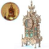 FUNPOLA Puzzle de madera 3D, reloj de torre, 3D, puzle 3D, reloj de escritorio, reloj de pulsera, juego de puzle 3D con 16 colores de luz LED, reloj de adorno principal 3D (53 piezas)
