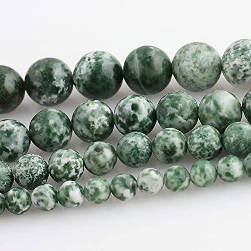 6mm Natural Cyan Speckled Jasper Beads for Jewelry Making Round Jade Beads for Necklaces and Bracelets 15 Inch with Elastic Rope