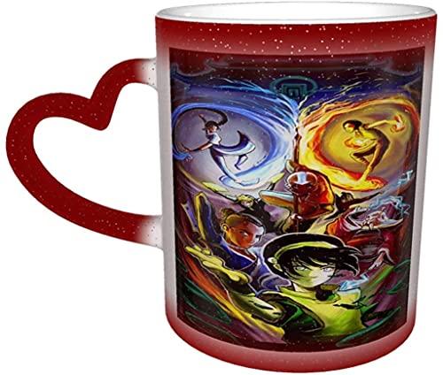 Avatar The Mug Last Airbender - Taza de café que cambia de color, sensible al calor, cambiante en el cielo, taza de té de cerámica, color rojo, 12 onzas