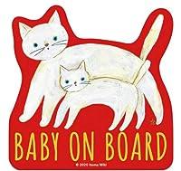 Baby on Board 「白ねこの親子」 車用 カーステッカー (マグネット) / 赤ちゃんが乗ってます