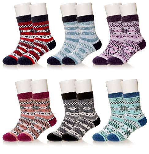 Kids Boy Girls Super Soft Warm Wool Socks For Kids Child Toddlers 6 Pairs (SNOWFLAKE, 4-7 YEARS)