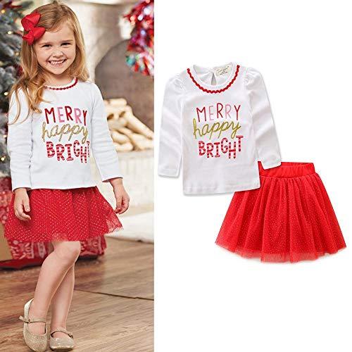 DYMAS Vestiti per Bambini Natale Nuovo Autunno Ragazze Cime di Bambini Abito Manica Lunga Lettera Natale Dress Set