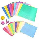 Papel de origami,100 hojas de papel artesanal de una cara 10 colores papel plegable con brillo de perlas papel de origami para proyectos de manualidades envoltura de regalos para niños (2 tamaño)