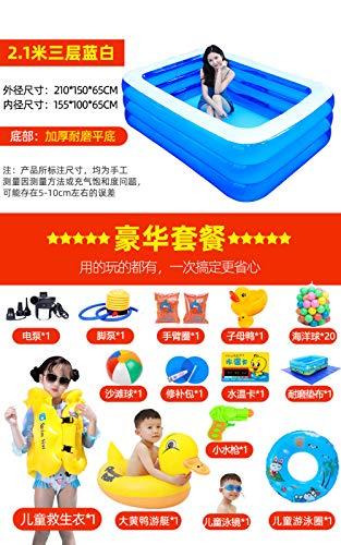 Aerlan Piscine familiale Swim Center avec sièges,Piscine Gonflable de Bain Pliable Robuste,Piscine Gonflable pour Enfants-2.1m/3/A/Luxury