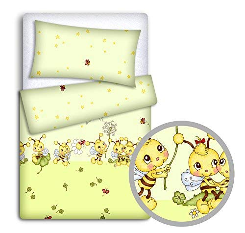Baby Bedding Set Pillowcase + Duvet Cover 2PC to FIT Baby COT Bed (Bees Green)