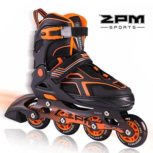2PM SPORTS Torinx Orange Black Boys Adjustable Inline Skates, Fun Skates for Kids, Beginner Roller Skates for Girls, Men and Ladies - Small (US Y10-13)