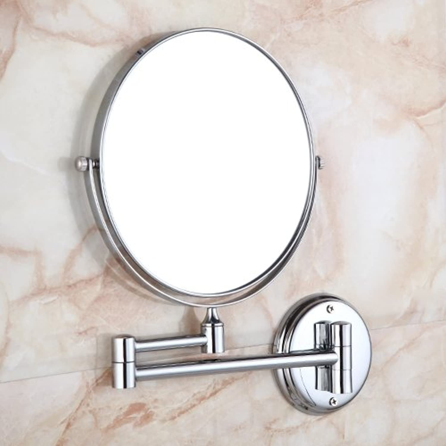 Bathroom vanity mirror double-sided wall mounted folding mirrors toilet telescopic mirror copper mirror mirror-8 inch D