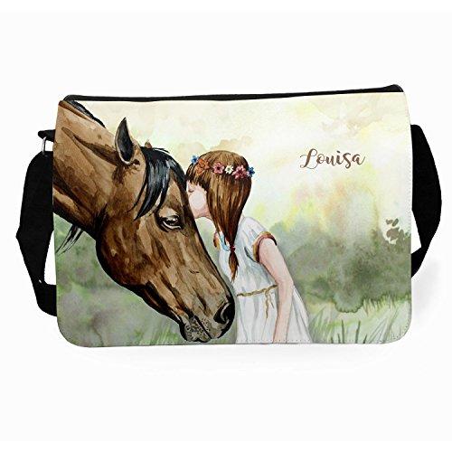 ilka parey wandtattoo-welt® Schultertasche Schultasche Tasche Umhängetasche mit Mädchen und Pferd tsu20 auf Wunsch mit individuellem Namen