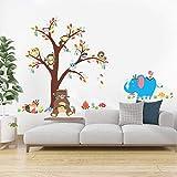 Poorminer - calcomanía decorativo para pared, diseño de árbol genealógico, animales, monos y búhos en el árbol café