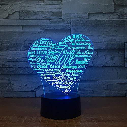 Tafellampen voor studie kerstgeschenken nachtlicht 3D-ledlamp met hartvormige letters 7-kleuren nachtlampje voor kinderen usb touch tafellamp baby slaapkamer