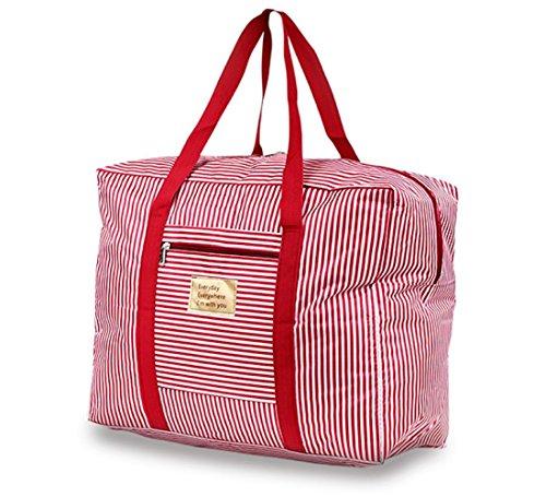 H&R 防水オックスフォード布旅行収納バッグトラベルバッグ折りたたみ ボストンバッグ キャリーバッグ スーツケースに通せる 大容量 旅行 バッグ 防水 3サイズ (レッド(持ち手) x ピンク ストライプ, Lサイズ 40L)