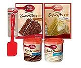 Betty Crocker TWO (2) Super Moist Cake & TWO (2) Rich & Creamy Frosting Bundle Vanilla & Milk Chocolate Cake w/ Bonus Betty Crocker Silicone Spatula