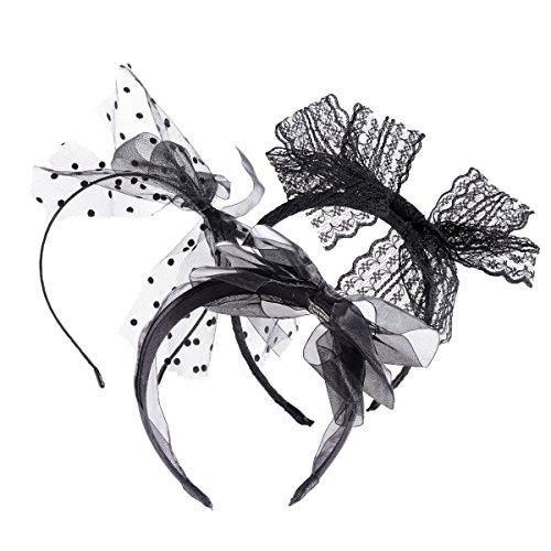 Frcolor Serre-tête en dentelle des années 80 avec accessoires de cheveux d'arc pour les femmes, paquet de 3