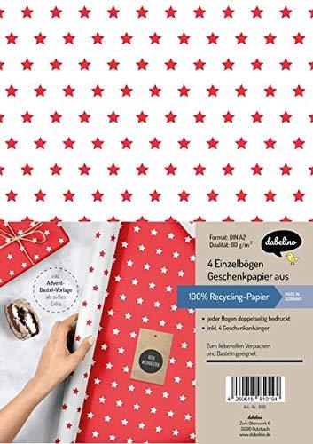 Weihnachtsgeschenkpapier-Set: Sterne (rot/ weiß): 4x Einzelbögen + 4x Geschenkanhänger
