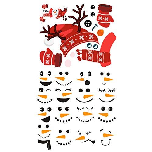Cabilock 2 Hojas de Navidad Muñeco de Nieve Conjunto de Pegatinas para El Refrigerador Vinilo Santa Claus Calcomanía Autoadhesiva Nevera Ventana Calcomanía para Decoraciones de La Casa de