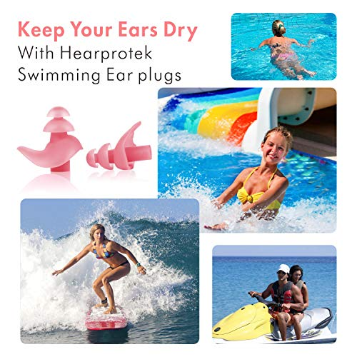 Upgraded Design Silicone Swimming Earplugs, Hearprotek 2 Pairs Waterproof Reusable Ear Plugs for Swimming Showering Bathing Surfing and Other Water Sports Adult Size