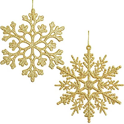 Lvydec 36pcs Christmas Glitter Snowflake Ornaments, Plastic Snowflakes Christmas Tree Decorations for Winter Holiday Party Decor, 4 Inch, Gold