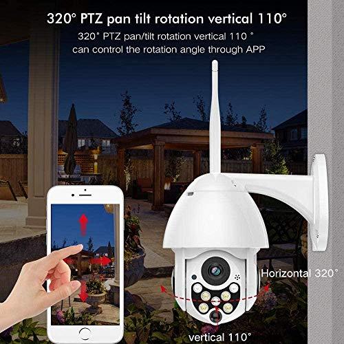 Telecamera IP 1080P WLAN PTZ Dome monitoraggio di Sicurezza Impermeabile Esterno con rilevazione di Movimento Visione Notturna a infrarossi con Zoom 4X