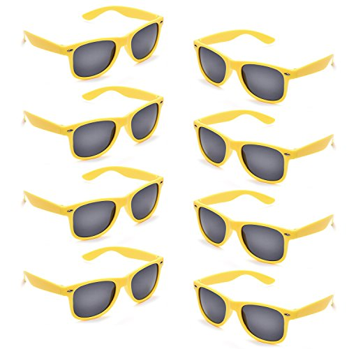 Neon Colors Party Favor Supplies Unisex Sunglasses Pack of 8 (Yellow)