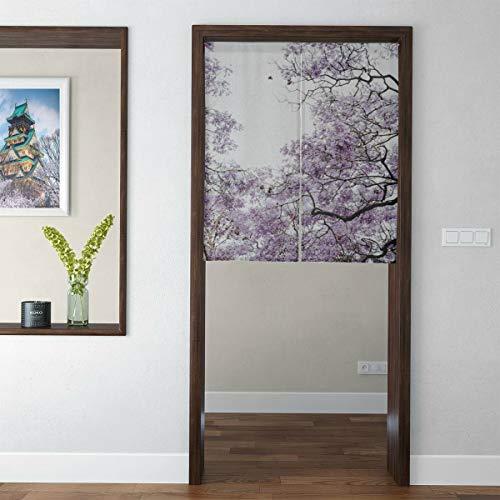 N\A Japanische Kurze Art Haustür Vorhang Schöne rosa Rapacho Bäume Tür Vorhang Tür Tapisserie für Wohnkultur