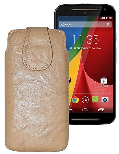 Suncase Tasche für / Motorola Moto G 4G LTE (2. Gen.) / Leder Etui Handytasche Ledertasche Schutzhülle Hülle Hülle / in wash-beige
