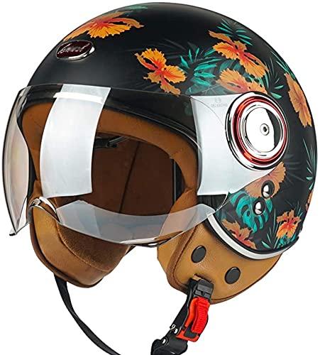 Casco De Cara Abierta 3/4 Para Motocicleta Piloto Scooter Helicóptero Casco Para Adultos, Casco Jet, (Negro Mate, Naranja) Aprobado DOT 9,XL