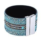 Morella Damen Glitzerarmband breit verziert mit Zirkoniasteinen und Magnetverschluss türkis weiß