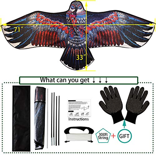 "K-MLICE Kites for Kids and Adults Easy to Fly 71""Large Eagle Kids Kite Beach Kites for Boys/ Girls Outdoor Game/ Beach Trip with 300ft Kite String"