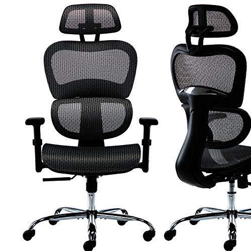 High Back Home Office Chair Mesh Executive Chair Adjustable Armrest/Headrest Desk Chair, Black