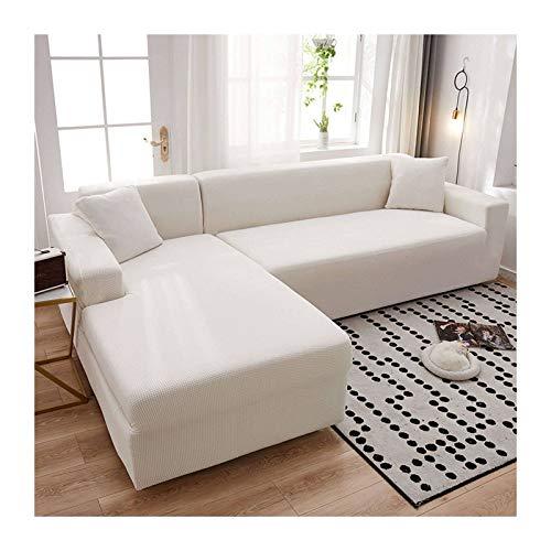 JHLD Fundas para Sillones Sofá En Forma De L, Alta Elasticidad Cubre Sofa Lavable Moda Protector para Sofás para Sala De Estar Mascota-F-Large + Large