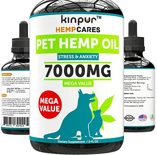 Hemp Oil for Dogs & Cats - 7000mg - Anxiety Relief...