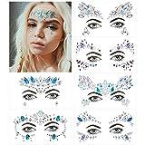 Face Gem Stickers, MOOKLIN Juego de 6 hojas con Pegatinas Cara Joyas cara Cristales Tatuajes Temporales falso para Pegar Bindi