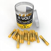 E-VOLT Heat Shrink Butt Connectors – 40 PC Weather Resistant Electrical Crimp Terminals for 8 Gauge Wire– Industrial Grade Insulated Butt Splice Connectors for Marine, Automobile and Audio